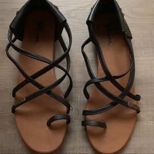 Volcom Stone studded strappy black sandals, size 9